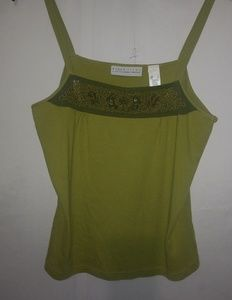 First Issue Lime Olive Beaded Trim Tank Sz L